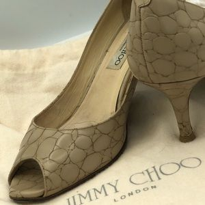 Jimmy Choo Beige Snake Print Patent Leather